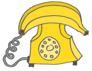 cartoon banana phone illustration
