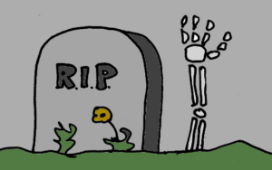 dark cartoon gravestone with skeleton hand poking up some flowers in the foreground colour as muted as if at night